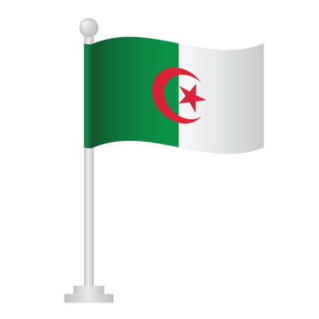 Algeria  flag. National flag of Algeria  on pole vector