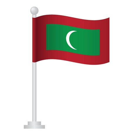 Maldives flag. National flag of Maldives on pole vector Ilustrace