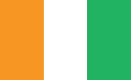 cote d'ivoire (ivory coast) flag. Simple vector. National flag of cote d'ivoire (ivory coast)