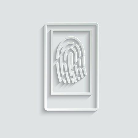 fingerprint icon vector.  Identification scannings of a fingerprint in the mobile phone