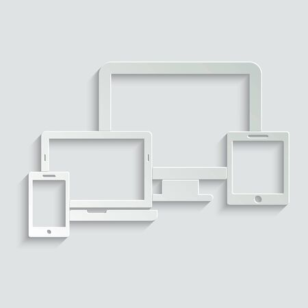 Smart Devices icon. Phone icon, tablet, laptop icon, computer screen. Symbol of notebook and mobile phone. Smart vector electronic device isolated on white background.