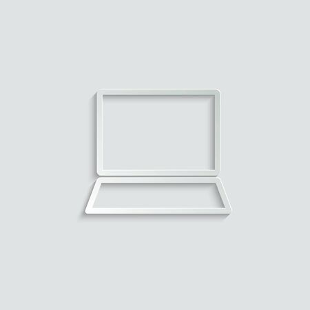 click icon. laptop computer, notebook and cursor click icon. line style