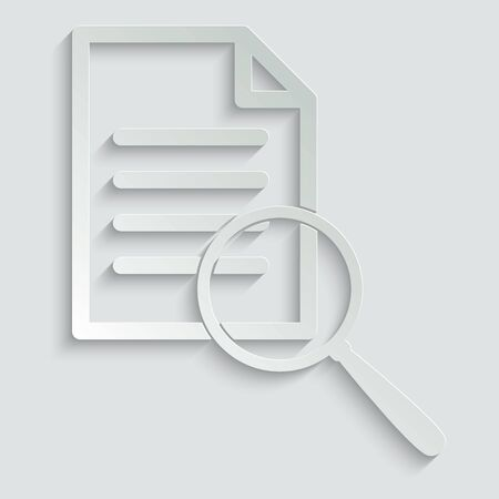 search icon. document icon. search in document sign.