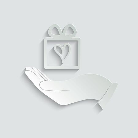 gift in hand icon.