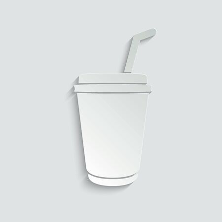 disposable cup of coffee icon. cafe .  disposable cup for cafe typography design.