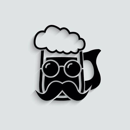 beer glass icon vector.  beer pub typography, . Beer advertising.