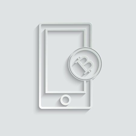 Bitcoin sign with mobile phone icon. Cryptocurrency symbol. cryptocurrency icon.  Blockchain-based secure cryptocurrency. Vector icon for website design, app.
