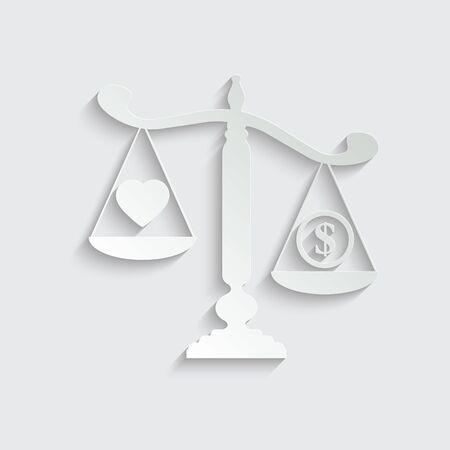scales icon. love is more important than money concept vector family icon