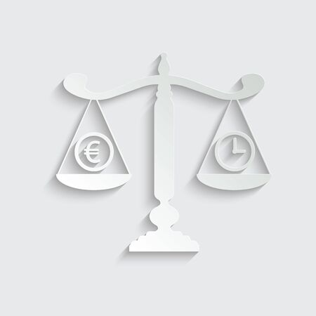 scales icon.  time is money icon. Money and time balance icon