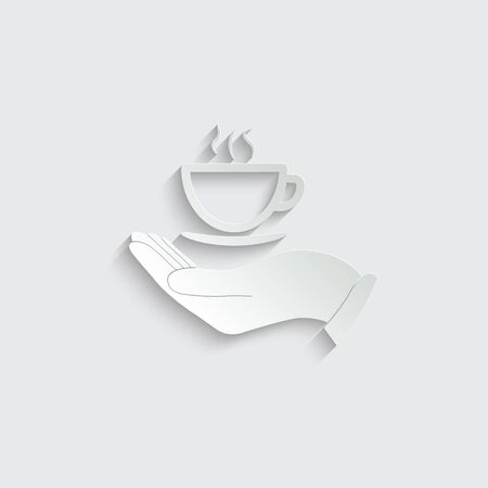 hand icon hold a cup of coffee or tea icon. logo for cafe or restaurant Imagens - 150289718