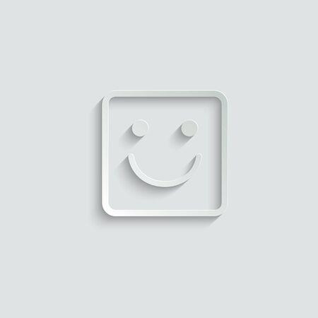 smile icon/ Happy face/ line style icon/ black vector symbol of smile Ilustração