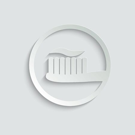 Toothbrush and toothpaste - black vector icon