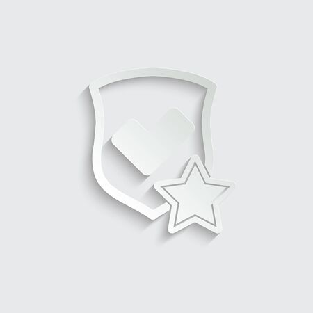 protect icon. secure  icon. Shield with  star and check mark icon sign vector Imagens - 150286303