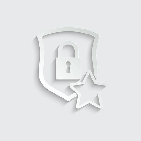 protect icon. secure  line style. Shield with lock and star icon sign vector