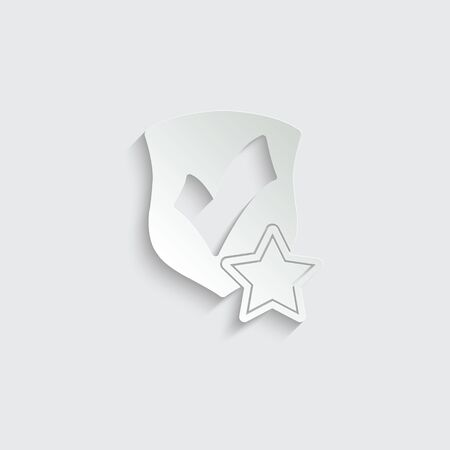 protect icon. secure  icon. Shield with  star and check mark icon sign vector