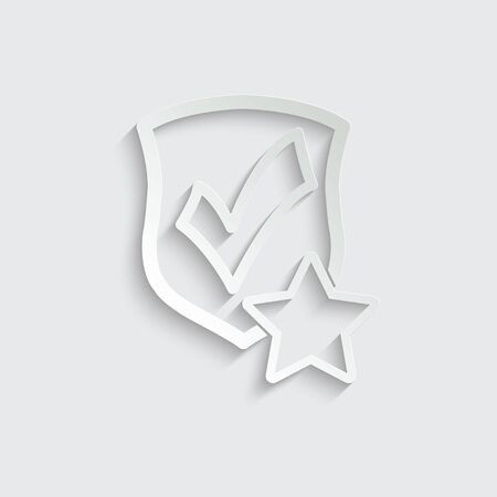 protect icon. secure  icon. Shield with  star and check mark icon sign vector Imagens - 150281838