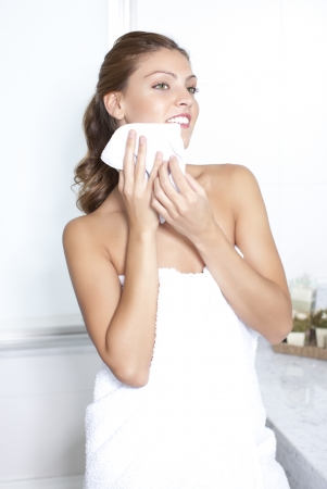 removing make up: Young woman in spa Stock Photo