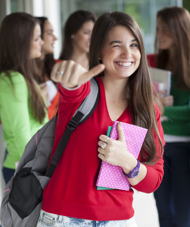 Group of smiling teenagers with folders and school bags