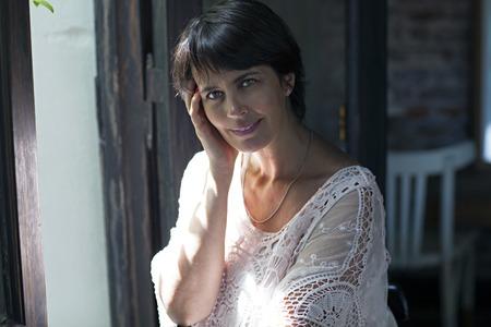 latin adult beautiful woman thinking about future Stock Photo