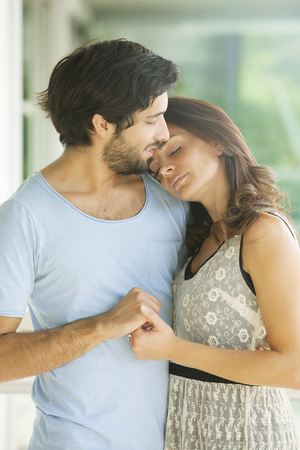 latin couple: Calm Love betwen a beatiful latin couple Stock Photo