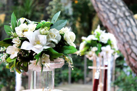 bouquets of white flowers outdoors Standard-Bild