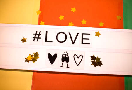 love poster with stars and hashtag