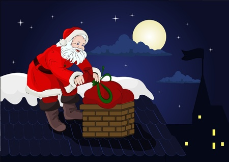 santa on the roof with a bag of gifts Vector
