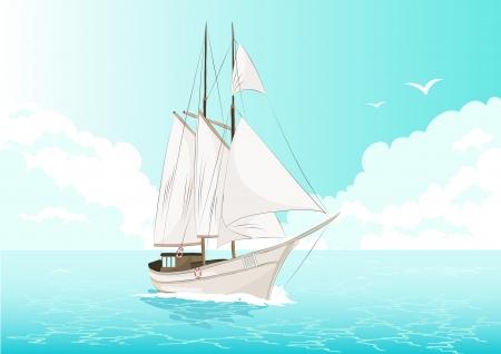 crew: vector illustration of a ship at sea