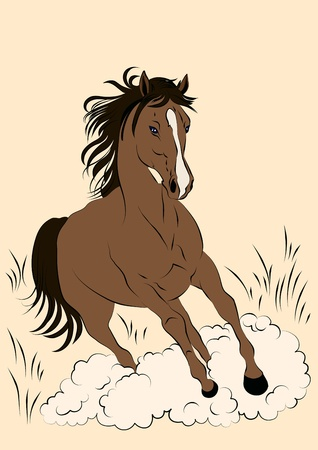illustration of a running horse in pastel colors