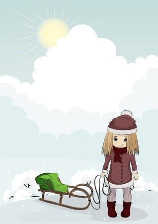 illustration of a sunny day in winter, when so much fun sledding