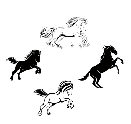 vector color and black and white drawing of a horse