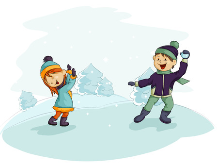 Two children playing snowballs Illustration