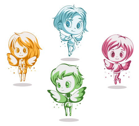four colorful vector angel baby