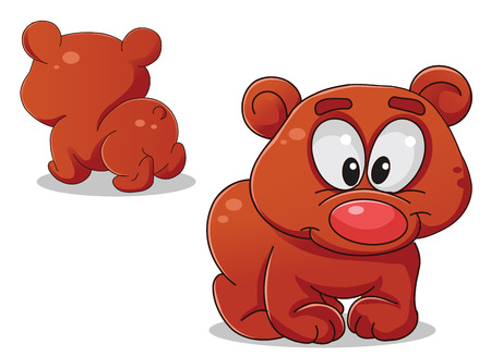 vector colorful characters bear a front and back