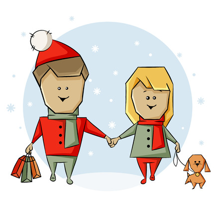 A man and a woman with a dog and shopping before Christmas Vector