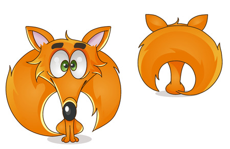 vector colorful character fox front and back