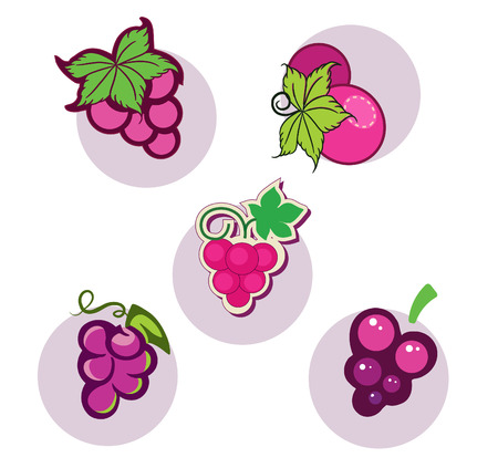 vector set of colored grapes