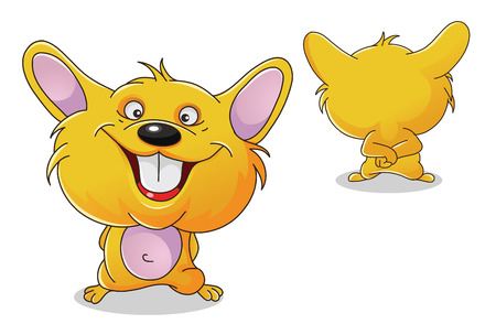 hamster: vector colorful characters a front and back