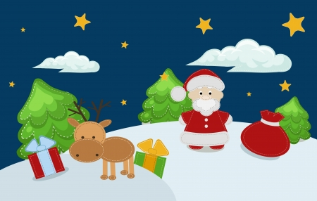 Vector color illustration of Christmas and New Year