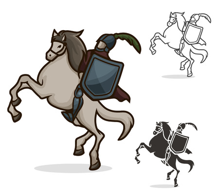 vector color and black and white knight on horseback Illustration