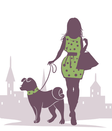 vector schematic drawing of a girl with a dog Vector