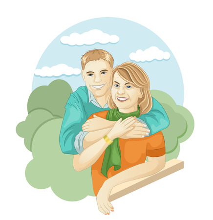 vector illustration of a loving mother and son