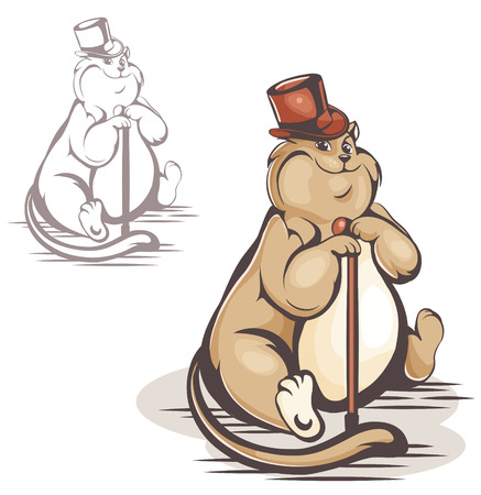 sophistication: vector color and black and white cat in the hat
