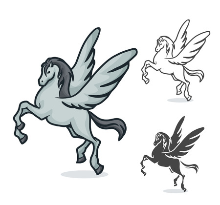 vector color and black and white drawing of Pegasus