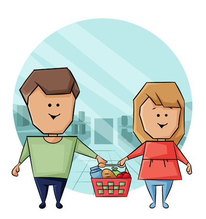vector illustration of a married couple buys products Illustration