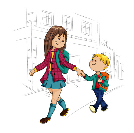 happy children go to school Vector