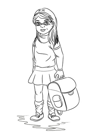 black and white sketch of a girl with a satchel
