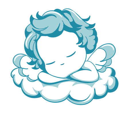 vector blue winged angel sleeping Illustration
