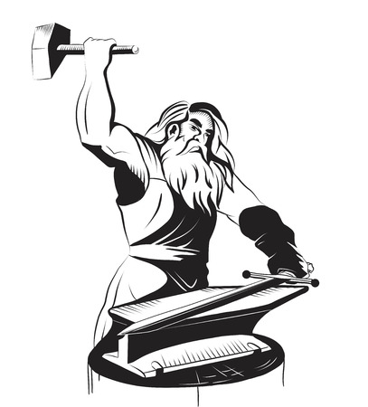 vector black and white outline of a blacksmith Stock Vector - 22697682
