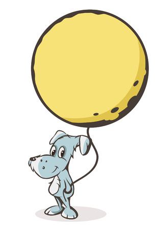 vector dog with the moon on a string Illustration